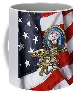 U. S. Navy S E A Ls Trident Over American Flag  Coffee Mug