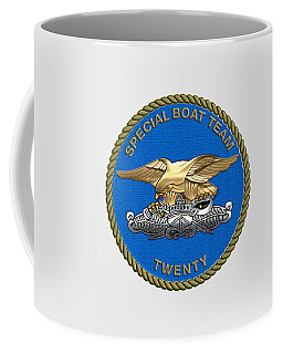U. S. Navy S W C C - Special Boat Team 20   -  S B T 20   Patch Over White Leather Coffee Mug