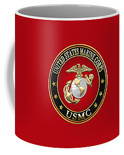 U S M C Eagle Globe And Anchor - E G A On Red Velvet Coffee Mug