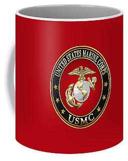 U S M C Eagle Globe And Anchor - E G A On Red Velvet Coffee Mug by Serge Averbukh