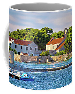 Ugljan Island Village Old Church And Beach View Coffee Mug