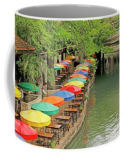 Coffee Mug featuring the photograph Umbrellas Along River Walk - San Antonio by Art Block Collections