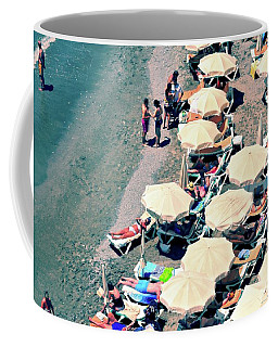 Coffee Mug featuring the photograph Umbrellas On The Beach - Nerja by Mary Machare