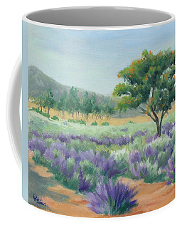 Under Blue Skies In Lavender Fields Coffee Mug by Sandy Fisher