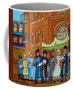 Coffee Mug featuring the painting Under The Chupa Jewish Wedding Party Montreal Street Scene Bagg Synagogue Carole Spandau             by Carole Spandau