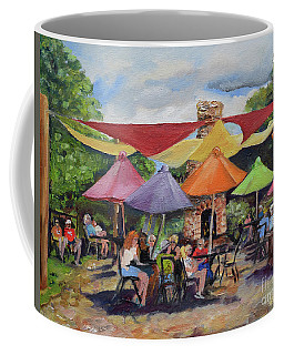Coffee Mug featuring the painting Under The Umbrellas At The Cartecay Vineyard - Crush Festival  by Jan Dappen