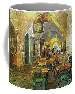 Coffee Mug featuring the photograph Underneath The Arches - Street Cafe, Prague by Leigh Kemp