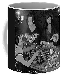 Unexpected Company - Black And White Fantasy Art Coffee Mug