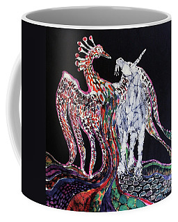 Unicorn And Phoenix Merge Paths Coffee Mug