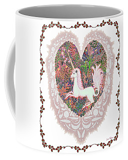 Unicorn In A Pink Heart Coffee Mug