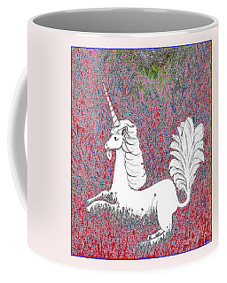 Unicorn In A Red Tapestry Coffee Mug