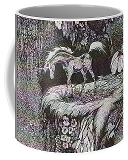 Coffee Mug featuring the drawing Unicorn by Loxi Sibley