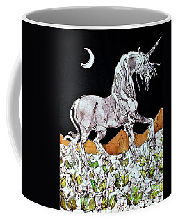 Unicorn Over Flower Field Coffee Mug