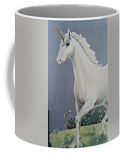 Unicorn Roaming The Grass And Flowers Coffee Mug