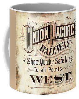 Coffee Mug featuring the mixed media Union Pacific Railroad - Gateway To The West  1883 by Daniel Hagerman