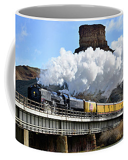 Union Pacific Steam Engine 844 And Castle Rock Coffee Mug by Eric Nielsen