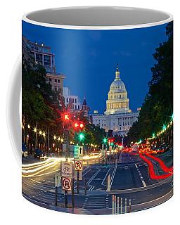 United States Capitol Along Pennsylvania Avenue In Washington, D.c.   Coffee Mug