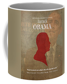 United States Of America President Barack Obama Facts Portrait And Quote Poster Series Number 44 Coffee Mug