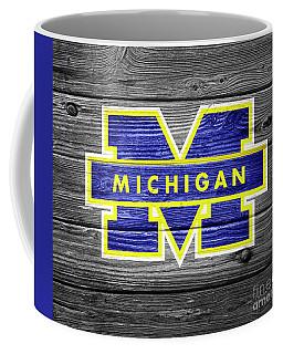 University Of Michigan Wolverines Logo On Weathered Wood Coffee Mug