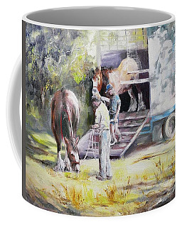 Unloading The Clydesdales Coffee Mug