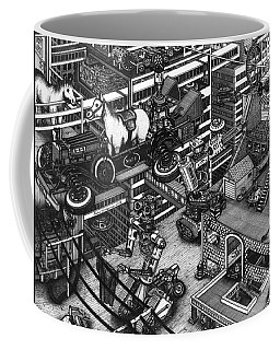 Coffee Mug featuring the painting The Moxie Powered Horse Mobile And The Cleaning Robots  by Richie Montgomery