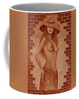 Coffee Mug featuring the painting Unveiled Topless Original Coffee Painting by Georgeta Blanaru