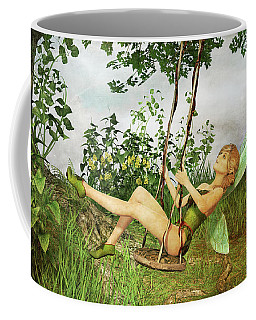 Up And Away - Vintage Fairy On A Swing Coffee Mug