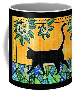 Coffee Mug featuring the painting Up To Something - Black Cat Card by Dora Hathazi Mendes