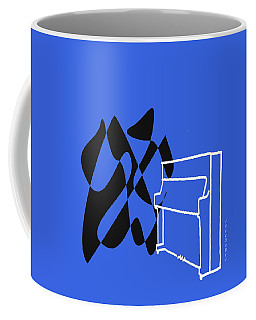 Coffee Mug featuring the digital art Upright Piano In Blue by Jazz DaBri