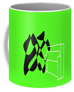 Coffee Mug featuring the digital art Upright Piano In Green by Jazz DaBri