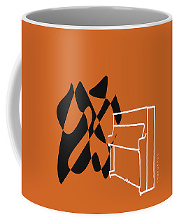 Coffee Mug featuring the digital art Upright Piano In Orange by Jazz DaBri