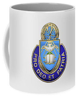 Coffee Mug featuring the digital art U.s. Army Chaplain Corps - Regimental Insignia Over White Leather by Serge Averbukh