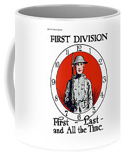 Coffee Mug featuring the painting Us Army First Division - Ww1 by War Is Hell Store