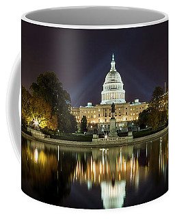 Us Capitol Night Panorama Coffee Mug