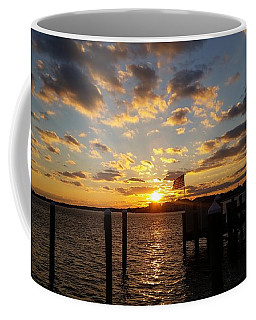 Coffee Mug featuring the photograph Us Flag Waving At Sunset by Robert Banach