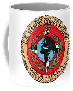 Coffee Mug featuring the painting U.s. Marine Corps Forces Europe - Africa by Betsy Hackett