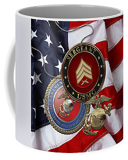 U. S. Marines Sergeant - U S M C Sgt Rank Insignia Over American Flag Coffee Mug