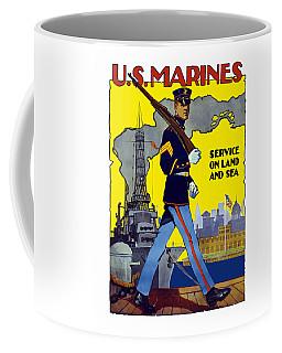 U.s. Marines - Service On Land And Sea Coffee Mug