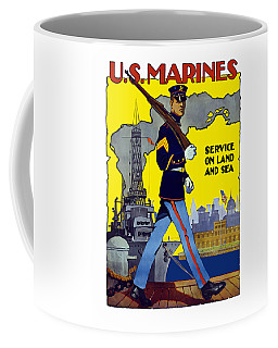 U.s. Marines - Service On Land And Sea Coffee Mug