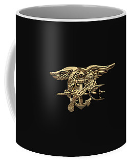 U.s. Navy Seals Trident Over Black Flag Coffee Mug
