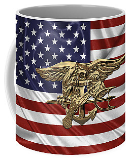 U.s. Navy Seals Trident Over U.s. Flag Coffee Mug