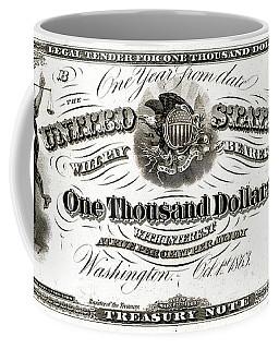 Coffee Mug featuring the digital art U.s. One Thousand Dollar Bill - 1863 $1000 Usd Treasury Note by Serge Averbukh