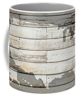 Usa Map Of America Outline On White Barn Wood Planks Coffee Mug
