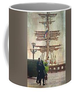 Coffee Mug featuring the photograph Uscg Watching Over Boston Harbor by Joann Vitali