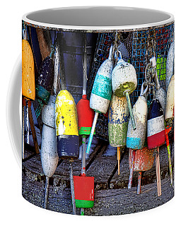 Coffee Mug featuring the photograph Used Lobster Trap Buoys by Olivier Le Queinec