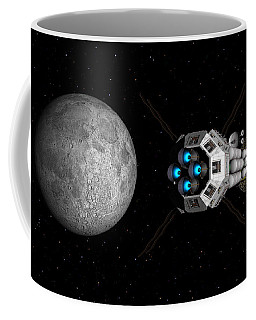 Uss Savannah Passing Earth's Moon Coffee Mug by David Robinson