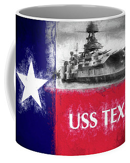 Coffee Mug featuring the digital art Uss Texas Flag by JC Findley