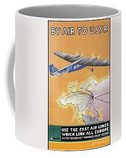 Ussr Vintage Air Travel Poster Restored Coffee Mug