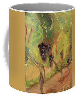 Coffee Mug featuring the painting Valhalla Vineyard by Donna Tuten
