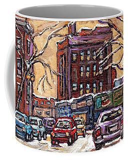 Van Horne Montreal Winter Scene Painting For Sale Quebec Small Format Paintings For Sale C Spandau   Coffee Mug